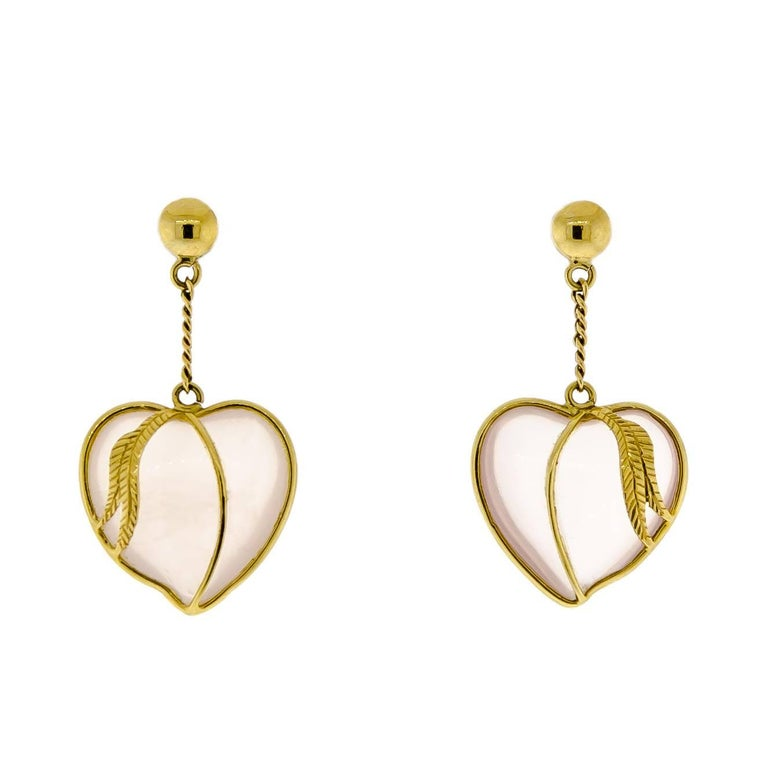 Petite Victorian Yellow Gold and Crystal Heart Pendant Earrings
