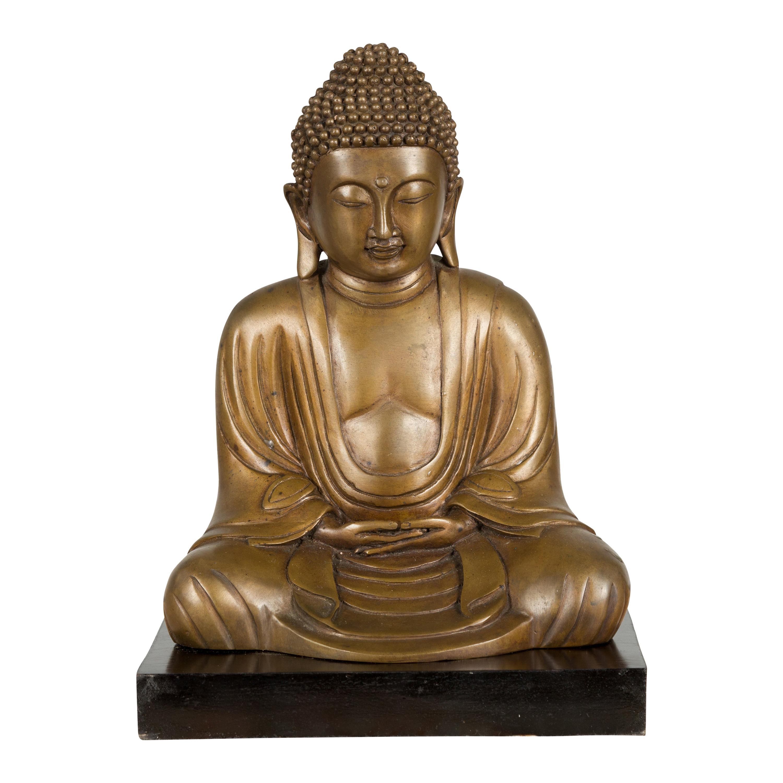 Petite Vintage Bronze Thai Dhyana Mudra Buddha Sculpture on Black Base