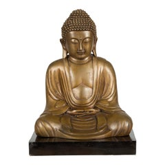 Petite Vintage Bronze Thai Dhyana Mudra Buddha Sculpture on Black Base