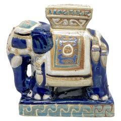 Petite Vintage Hollywood Regency Chinese Blue Elephant Flower Pot Stand