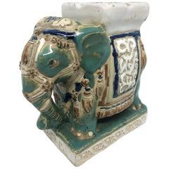 Petite Vintage Hollywood Regency Chinese Ceramic Elephant Ashtray