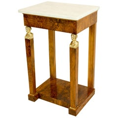Petite Walnut French Empire Console with Marble Top and Bronze Caryatides