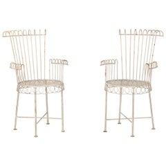 Petite White Painted Iron Garden Chairs
