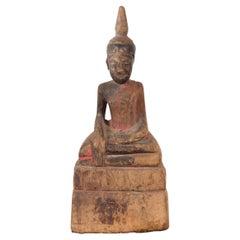 Petite Wooden Thai Ayutthaya Period Buddha Sculpture with Bhumisparsha Mudra