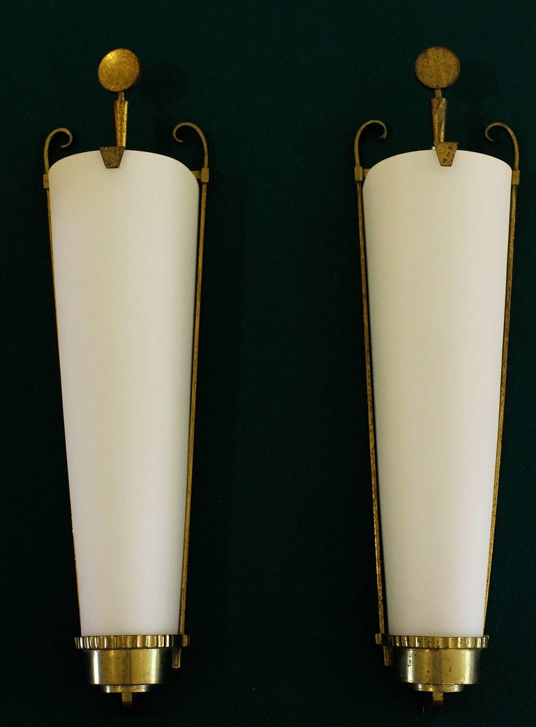 French Petitot Important Pair of Sconces 1930 For Sale