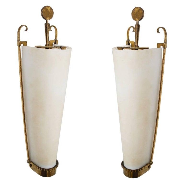 Petitot Important Pair of Sconces 1930 For Sale