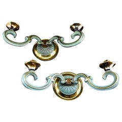 Petitot Pair of Bronze Wall Sconces, 1930