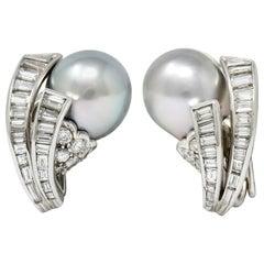 Petochi Vintage 3.25 Carat Diamond Cultured Pearl Platinum Ear-Clip Earrings