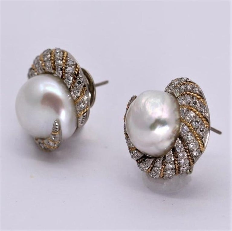 Petochi Yellow and White Gold Earrings with Diamonds and South Sea Pearls In Good Condition For Sale In Blue Ridge, GA