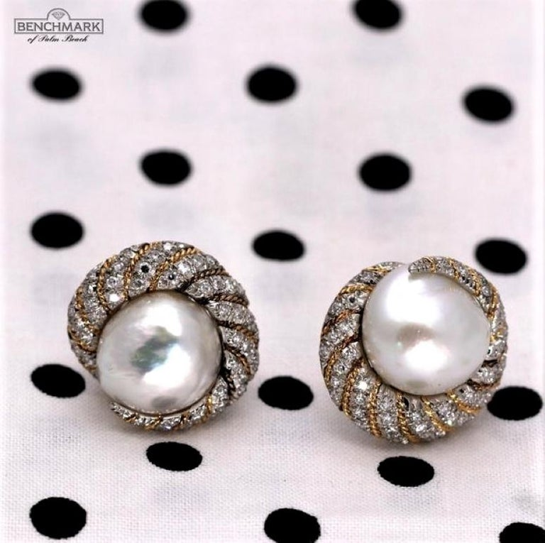 Women's or Men's Petochi Yellow and White Gold Earrings with Diamonds and South Sea Pearls For Sale