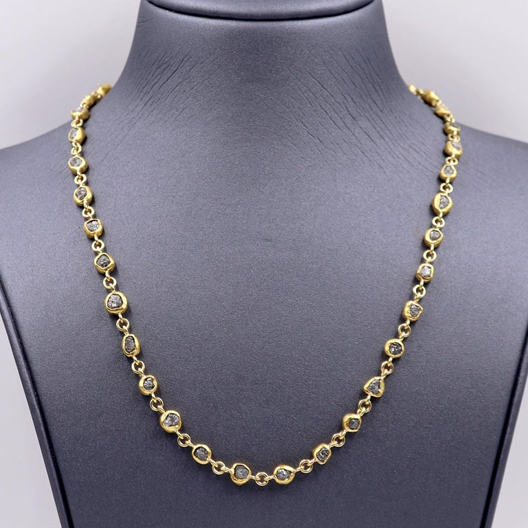 One of a Kind Heavy Chain Necklace hand-fabricated by jewelry maker Petra Class featuring an incredible 38.0 total carats of steel-toned rough diamond crystals individually bezel-set in signature-finished 22k yellow gold and accented with 18k yellow