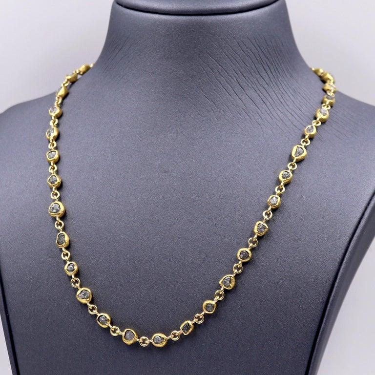 Artisan Petra Class 38.0 Carat Diamond High-Karat Gold Handmade Heavy Chain Necklace For Sale