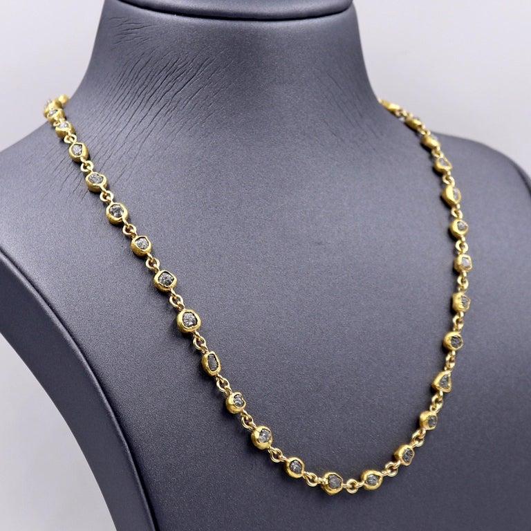 Uncut Petra Class 38.0 Carat Diamond High-Karat Gold Handmade Heavy Chain Necklace For Sale