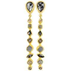 Petra Class 9.0 Carat Faceted and Rough Diamond Gold Linear Dangle Earrings
