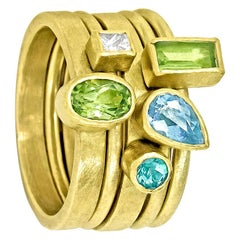 Petra Class Alexandrite White Diamond Aquamarine Peridot Gold Stacking Rings