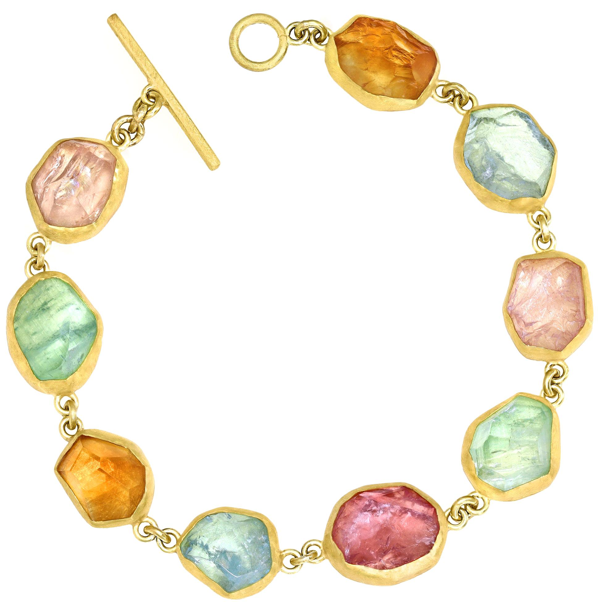 Petra Class Aquamarine Citrine Imperial Topaz Green and Pink Tourmaline Bracelet