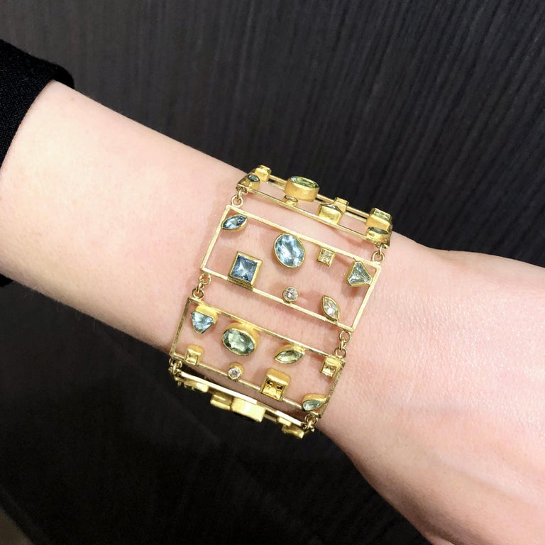 Artist Petra Class Aquamarine Diamond One of a Kind Geometric Ladders Bracelet