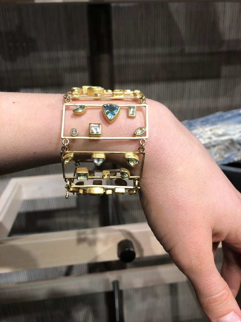 Round Cut Petra Class Aquamarine Diamond One of a Kind Geometric Ladders Bracelet