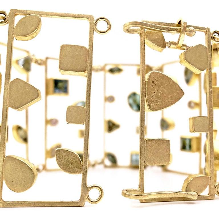 Petra Class Aquamarine Diamond One of a Kind Geometric Ladders Bracelet 1