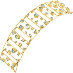 Petra Class Aquamarine Diamond One of a Kind Geometric Ladders Bracelet