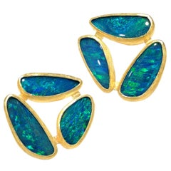 Petra Class Australian Opal Doublet One-of-a-kind Triple Stud Earrings