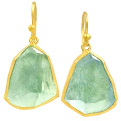 Petra Class Blue Green Rough Aquamarine Gold Dangle Drop Earrings