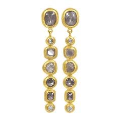 Petra Class Brilliant, Rose-Cut and Raw Diamond Handmade 22k Gold Line Earrings