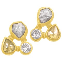 Petra Class Brilliant Rose-Cut and Rough Diamond Gold Triple Stud Earrings