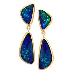 Petra Class Deep Blue Australian Opal Handmade Gold Dangle Drop Earrings
