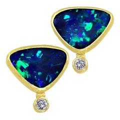 Petra Class Electric Flash Australian Opal Doublet Diamond Gold Stud Earrings