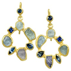 Petra Class Faceted and Rough Montana Sapphire 22k Gold Radial Drop Earrings