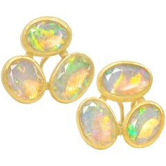Petra Class Faceted Ethiopian Opal One of a Kind Gold Triple Stud Earrings