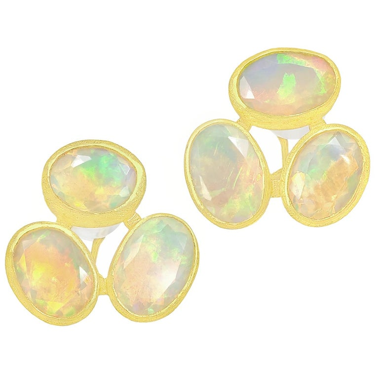 Petra Class Faceted Ethiopian Opal One-of-a-Kind Triple Stud Earrings For Sale
