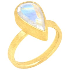 Petra Class Faceted Rainbow Moonstone Drop High Karat Yellow Gold Solitaire Ring