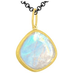 Petra Class Faceted Rainbow Moonstone One of a Kind 22k Gold Pendant Necklace