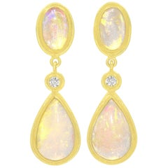 Petra Class Fiery Ethiopian Opal White Diamond Dangle Drop Earrings