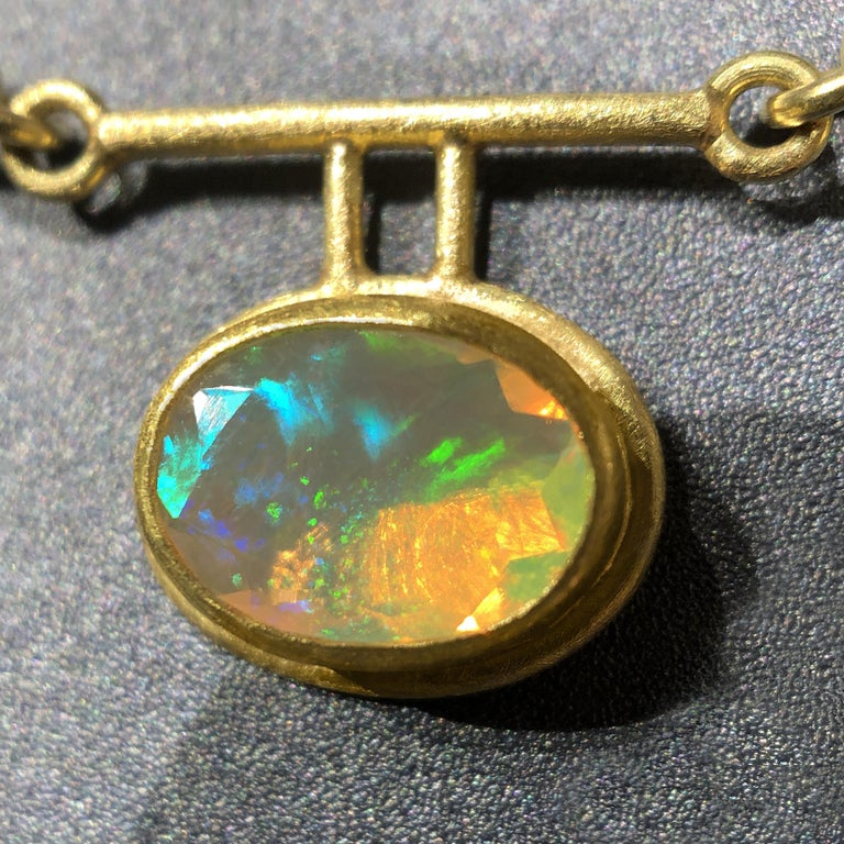 Oval Cut Petra Class Fiery Faceted Ethiopian Opal One-of-a-Kind Double Segment Necklace For Sale