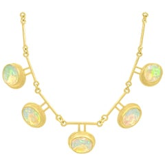 Petra Class Fiery Faceted Ethiopian Opal One-of-a-Kind Double Segment Necklace