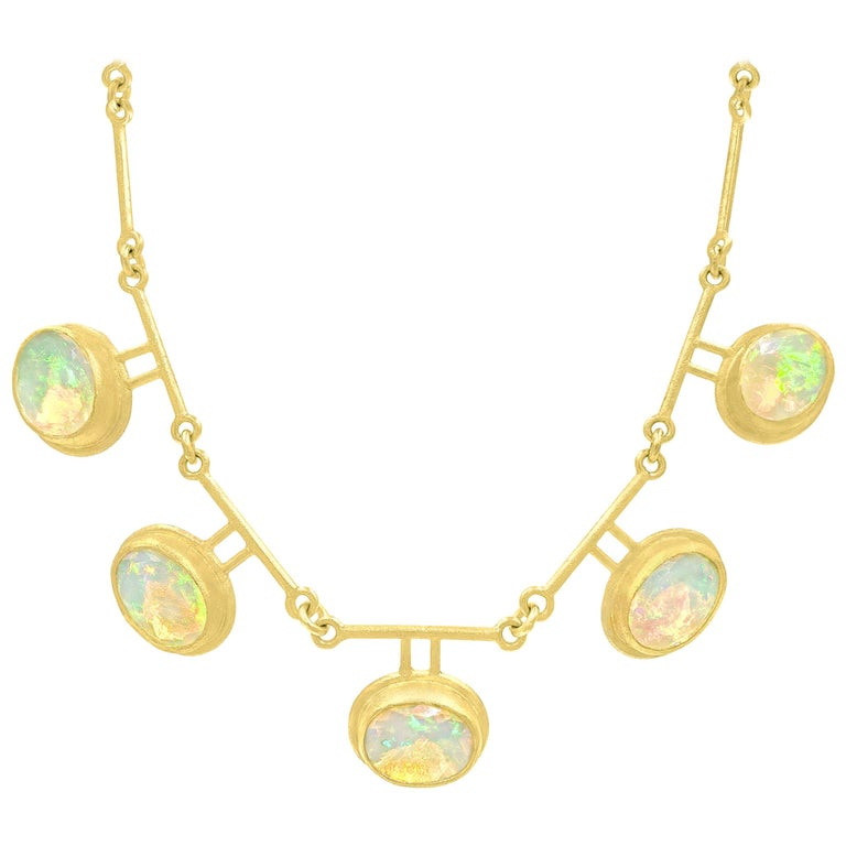 Petra Class Fiery Faceted Ethiopian Opal One-of-a-Kind Double Segment Necklace For Sale