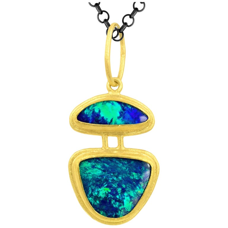 Petra Class Fiery Opal 22k Gold Double Segments One of a Kind Pendant Necklace For Sale