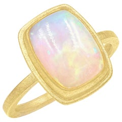 Petra Class Fiery Rainbow Ethiopian White Opal Cabochon Framed Matte Gold Ring