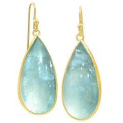 Petra Class Glowing Aquamarine Pear Cabochon One of a Kind Gold Dangle Earrings