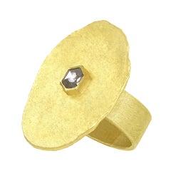Petra Class Hexagonal Rose-Cut Diamond High Karat Gold Solitaire Slab Ring