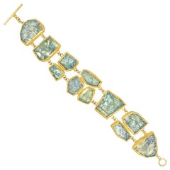 Petra Class Iridescent Aquamarine One of a Kind Double Row Gold Bracelet