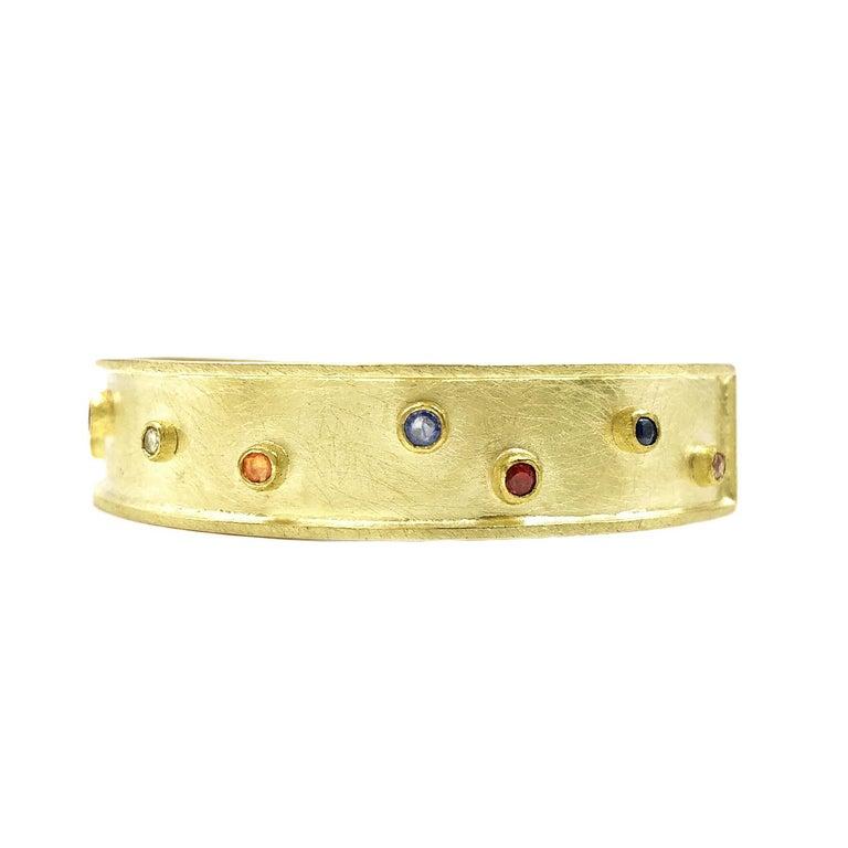 Round Cut Petra Class Multicolored Sapphire One of a Kind Cuff Bracelet