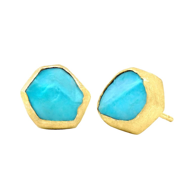 Petra Class Natural Rough Turquoise Matte Gold Stud Earrings
