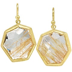 Petra Class One of a Kind Faceted Rutilated Quartz Heptagon Gold Drop Earrings