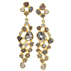 Petra Class One of a Kind Natural Diamond Gold Mosaic Drop Earrings