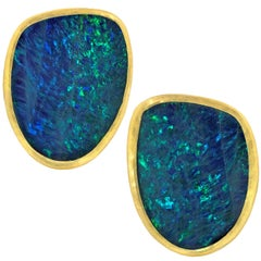Petra Class One-of-a-Kind Opal Doublet Gold Large Clip Stud Earrings