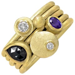 Petra Class White Diamond Black Diamond Purple Sapphire Gold Stacking Rings